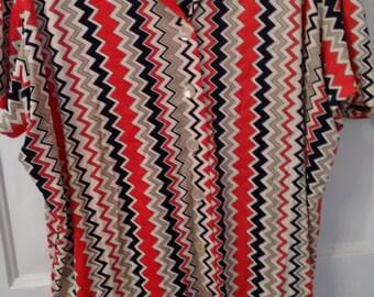 zig zag polyester shirt blouse top disco women boho mod polyester knit 70s 1970s