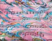 Apples, Peaches, Pumpkin Pie - hand marbled vintage sheet music