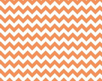 Orange Small Chevron Fabric by Riley Blake Designs - 1/2 Yard - Half Yard - Orange Chevrons - Orange and White Zig Zags