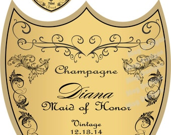 Personalized Bridesmaid Champagne Labels - Bridesmaid Gifts - Will you be my Bridesmaid Champagne Label - 7 Labels