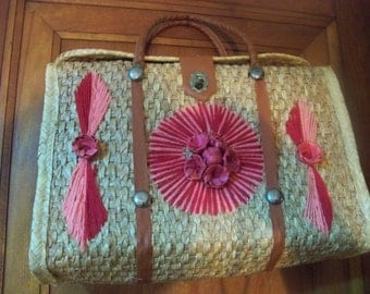 large vintage  weaved box style hand bag