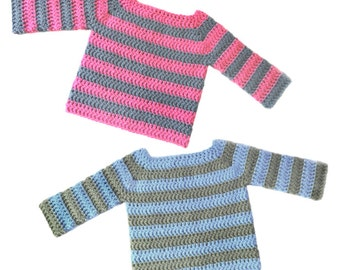 Classic Baby Pullover Sweater - 5 Sizes - PDF Crochet Pattern - Instant Download
