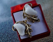 Vintage 1950s Signed Coro Goldtone Earrings with White and Rhinestone Design- Hollywood Regency
