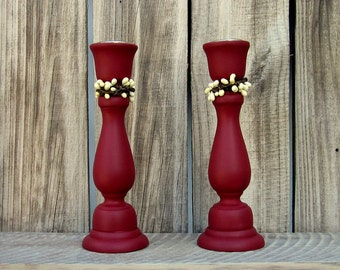 Taper Holders, Red, Pair, Candle Sticks, White Pip Berries, Home Decor, Painted Wood, Set of Two, Primitive Decor, Rustic, Cottage Chic
