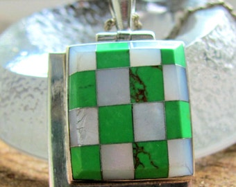 Gorgeous Taxco Mexico Silver Pendant with Checkered Pattern of Malachite and Mother of Pearl, with Sterling Chain