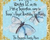 CINDERELLA 2015 inspired Butterfly Invitation Fairytale Birthdays CUSTOM Wording