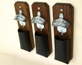 Personalized Groomsmen Gifts, 1 Custom Bottle Cap Catcher, Craft Beer Groomsman Gift, Wall Mount Bottle Opener - Mahogany with Leather Pouch