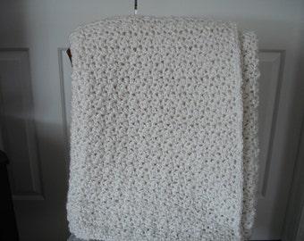 White Afghan Throw Blanket