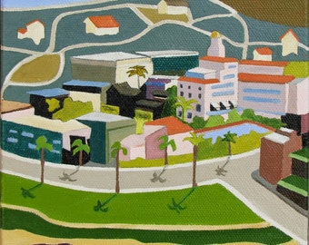 Original Oil Painting, California Landscape, Folk Art, La Jolla, by Sandra Corey,  FREE DOMESTIC SHIPPING.