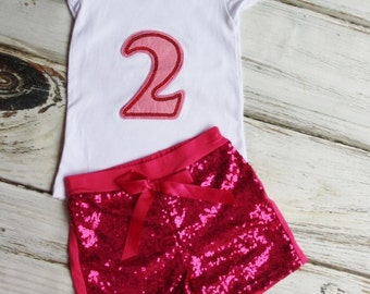 2nd Birthday Outfit- Baby Girls Birthday Clothes- Cake Smashing Outfit- ONE in Pink shirt and Sequin Shorts- Glitter Birthday Shirt
