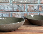 Extrudergirl's Naked Clay Stoneware 6 ounce Pasta, Rice, Vegetable, Meatloaf, or Dessert Handmade Plates ~ Set of  2