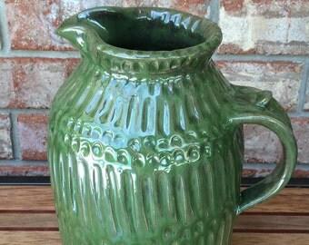 Handmade Metallic Seaweed Green Galaxea Ceramic Stoneware Pitcher