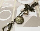Antique gold X-Large cross bouquet charm