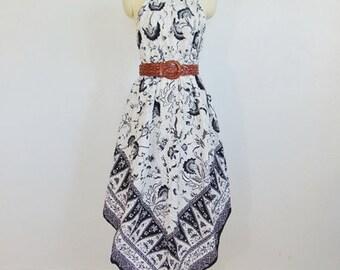70s Indonesian Print cotton tent dress SUNDRESS size medium