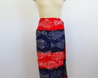 60s Duke Kahanamoku SARONG wrap skirt size s/m