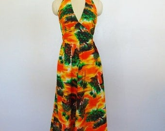 70s Hawaiian Print halter SUNDRESS Hukilau Honolulu size large
