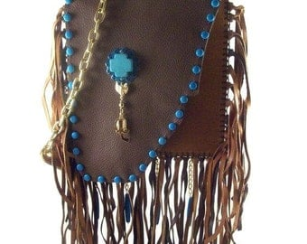 Running Bear Turquoise Leather Fringe Bag