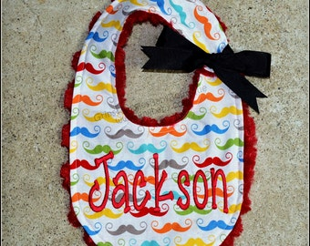 Baby bib,Mustache,Red Minky Swirl, Personalized,Lime,Turquoise.Blue,Gray.Custom Bib