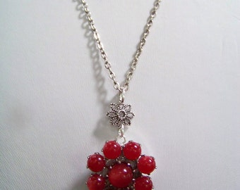 N3262 Red necklace featuring a vintage earring