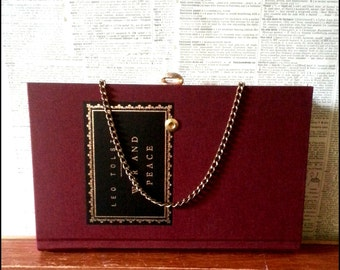 Book Clutch War & Peace by Leo Tolstoy Literary Book Purse Made to Order