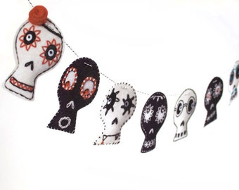 Halloween Party Decoration - black and white embroidered skulls - photo reproductions on felt -Day of the Dead decor