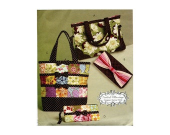 Quilted Totes and Bags Pattern Super Cute Accessories Handled Totes Handbags Cosmetics Case Small Purse McCalls 5897 Sewing Pattern