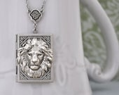 lion necklace, silver book locket necklace, THE BRAVE ONE, antiqued silver book locket necklace with ruby red glass jewel