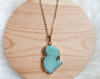 Long Turquoise Slab Necklace
