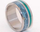 Wooden Wedding Rings, titanium ring, titanium wedding rings, Eco-friendly rings, mens ring, womens rings, wood rings - PEACEFUL WATERS