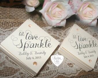 Let Love Sparkle, Sparkler Send Off Tags, Sparkler Tags, Wedding Sparkler Tags, Wedding Favors Let Love Sparkle, Wedding Favor Tags RB502