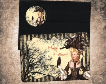 Halloween, Happy Halloween,  Witch, Marie Antoinette, Witch Marie, Greeting Cards, Stickers
