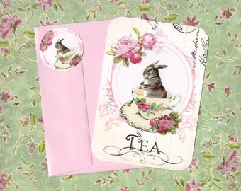 Note Cards, Tea Time, Bunny Rabbit, Tea Cup & Roses, Stickers