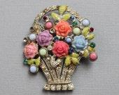 Large Art Deco Flower Basket Brooch / Antique Enamel Paste Pin