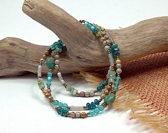 Boho Wrap.. Aqua Coco, Sweater Jewelry, Glass Beaded, Necklace, Wrap Bracelet cbwsn110