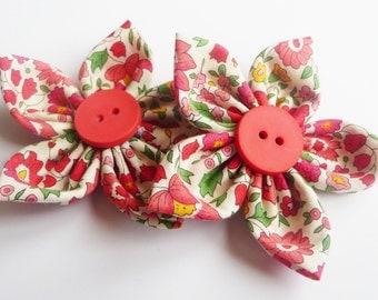 liberty d'anjo fabric flower x2