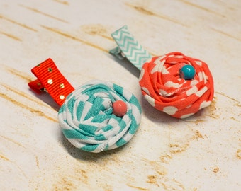 Little Girl Hair Clips Set Coral Aqua Fabric Rosettes, Gold Polka Dots, Baby Girls Rolled flowers pearl beads Shabby Chic non slip Clip gift