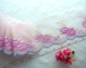 Embroidered lace, Pink lace, Lace trim, Tulle lace, Floral lace, Wedding lace, Lolita BJD lace, 3 yards RD092