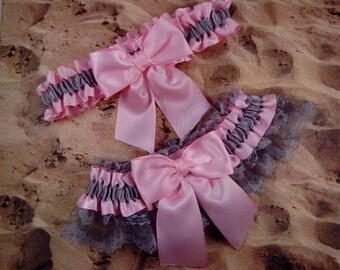 Pink Satin Gray Lace Gray Satin Wedding Bridal Garter Toss Set