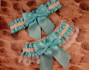 Aqua Ribbon Ivory Lace Bridal Wedding Garter Toss Set