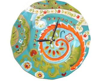 SILENT 10 Inch Bright, Bold and Colorful Paisley Inspired Wall Clock / Ceramic Plate Clock / Kitchen Clock / Unique Wall Decor / 2217