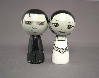 Frankenstein and Bride Wedding Cake Toppers Kokeshi horror dolls