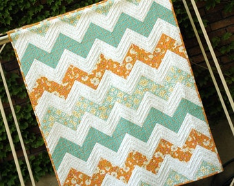 Quilt Throw Size,  zig zag quilt, Riley Blake  patchwork  Quilt, orange and turquoise quilt, modern quilt, chenille, chenille quilt