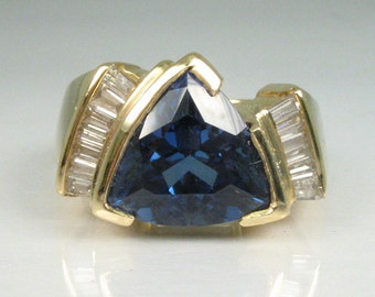 Sapphire Estate Synthetic Sapphire and Diamond Ring - Appraisal Included