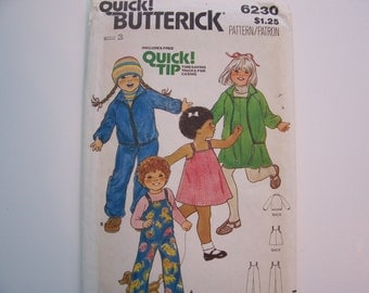 BUTTEICK QUICK PATTERN   6230 -  Toddler s Jacket, Jumper and Overall  -  Size 3  -  4.00