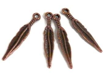 DESTASH - 10 Feather Charms, Antique Copper