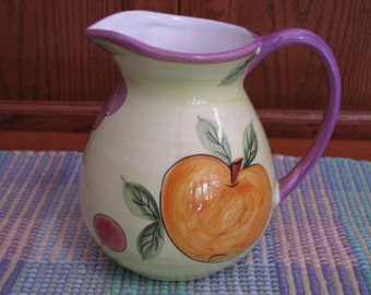 Vintage Fruit Pitcher Peaches,Cherries, Grapes & Pear Hand Painted Fruit Pitcher