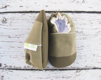 Organic Vegan Heavy Canvas Khaki / non-slip soft sole shoes / made to order / babies toddlers preschool