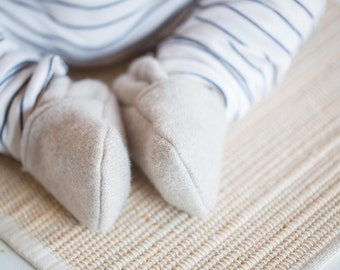 Cashmere Wool Oatmeal / All fabric Soft Sole Baby Shoes / Made to Order / Babies