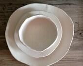 Ceramic dinner plates - White on white  plates ceramic bowl handmade tableware dishes dinnerware by Christiane Barbato