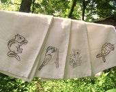 4 Animal Napkins-hand embroidered